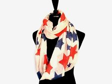 Ladies Red White Blue Stars Infinity Scarf Large Patriotic USA