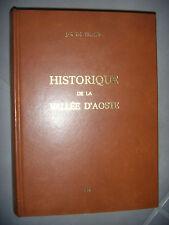 Italie: Historique de la Vallée d'Aoste, 1ère édition, 1966, TBE