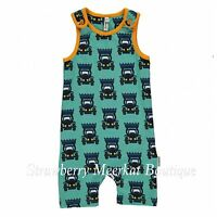 New Maxomorra Blue Tractor Short Shortie Playsuit Dungarees 50 56 62 68 80