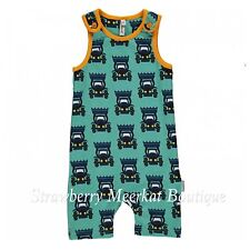 Maxomorra Blue Tractor Short Shortie Playsuit Dungarees 50 56 62 68 80 50cm (tiny Baby)