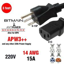 Bitmain Antminer Power cable cord Heavy Duty (3FT) 14 AWG NEMA 6-15P to C13