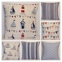 Seaside Nautical Mix Match Red Blue Boats Bunting Stripe Spot Cushion Cover
