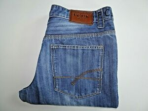 "FCUK Mens Jeans Blue Denim Straight Leg Button Fly W36 L30 Waist 36"" Leg 30"""