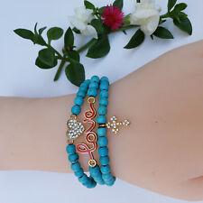 Vintage Turquoise Beads Set of 3 Bracelets. Love, Faith, heart charms. Jesus