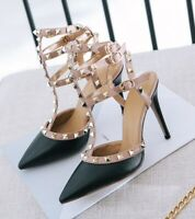 Stud Calfskin Leather 3 Caged Strap Pumps High Heels Sandals Shoes Size 36-41