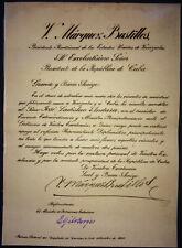 1920 Venezuela ~ Signed President VICTORINO MARQUEZ BUSTILLOS Diplomatic Letter