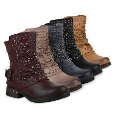 Damen Biker Boots Warm Gefütterte Stiefel Nieten Stiefeletten 898728 Schuhe