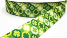 "1"" 2 Yards St Patrick's Day Grosgrain Ribbon Clover Hair Bows Crafts Gift Wrap"
