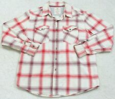 Dress Shirt Extra Large XL Two Pocket Mans White Red Maroon Route 66 Long Sleeve