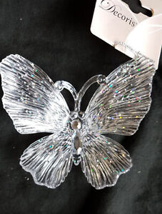3 x Pretty Sparkle Butterfly Hanging Christmas Tree Decorations 10cm