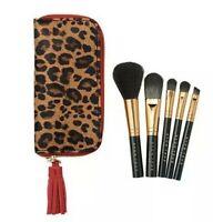 New Avon Mini Brush Set Of 5 In Cheetah print Case