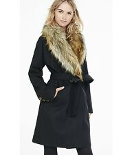 EXPRESS Large BLACK EXTREME FAUX FUR COLLAR BELTED WOOL TRENCH COAT $228 L