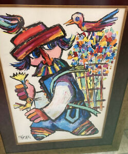 JOVAN OBICAN SIGNED, ART PRINT, MAN WITH BIRDS, MUSIC, LITHOGRAPH