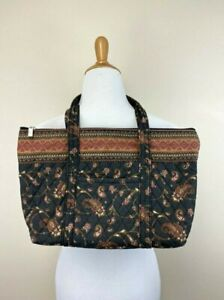 Americana By Sharif Brown Paisley Floral Quilted Purse Shoulder Bag