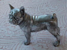 FRENCH BULLDOG LARGE STANDING CAST RESIN SILVER FINISH FRENCH BULLDOG MODEL