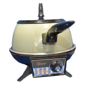 Vintage 1980's Oster Electric Fondue Set with 11 Forks Avocado Green Pot, Manual