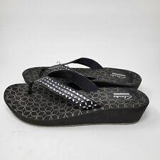 Clarks Women Collection Size 10M Black Wedge Flip Flop Sandals