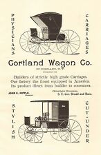 Cortland, New York, Cortland Wagon Co. Carriage, Vintage 1898 Antique Art Print