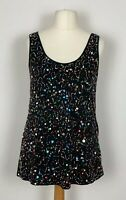 ZARA UK10 Sparkly Black & Multicoloured Beaded Top (Front) Euro S Party Occasion