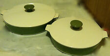 Corning Ware®  Casseroles • matching set of 2 w/lids-white & olive • Made In USA
