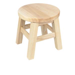 26cm Mini Portable Kiddie Round Chair Hevea Wooden Step Stool Durable Footstool