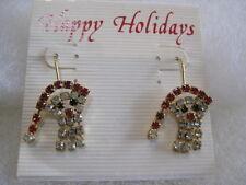 "Vintage Rhinestone ""SANTA CLAUS"" French Wire-Pierced Earrings (Orig.$15.00)"
