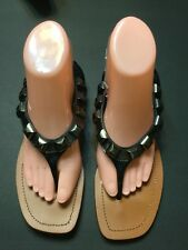 Steve Madden Womens Leather Jelybely Studded T Strap Flat Sandal Shoes US 7.5 H2