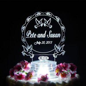 Doves Lighted Wedding CakeTopper Acrylic Personalized Custom Top LED Love Birds