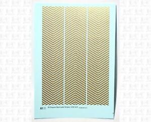 K4 HO Decals Gold 1/16 Inch 30 Degree Diagonal Barricade Stripes Set