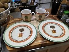 Villeroy and Boch Festive Memories Topiary pair of mugs/dessert plates MINT!!!