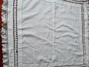 Tablecloth White Cotton,crochet edged.35 x 35ins.(90x90cms)