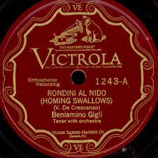 BENIAMINO GIGLI -TENOR- Rondini al nido / Torna amore  Schellackplatte 78' S9085