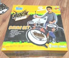 Kids stuff Rock Drum Set: bass drum foot pedal drumsticks cymbal stool new