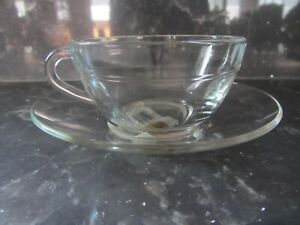 Set of 4 Vintage Duralux Clear Glass Cup & Saucer Made in Spain NIB