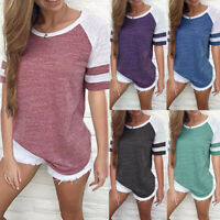 UK Women's Short Sleeve Pullover Tops Ladies Casual Loose Splice T Shirts Blouse