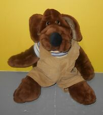 "Vintage Ganz 16"" Plush Dog WRINKLES Hand Puppet Brown Original Outfit"