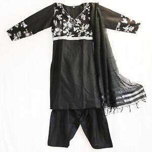 Salwar Kameez Kleid Hose Schal Gr.M  Bollywood Sari Kostüm Indien Schwarz Silber