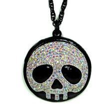 CUTE SPARKLING SKULL NECKLACE Rhinestone Pendant Skeleton Fun Candy Goth Emo NEW