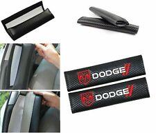 2PCS Carbon Look Embroidery Logo Seat Belt Cover Shoulder Pads For d.o.d.g.e