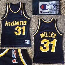 VTG Rare Reggie Miller Pacers Champion NBA Jersey Sz Mens 36 Dale Davis Signed