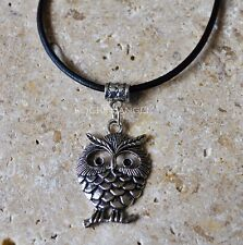 Antique Silver Plt Puffy Owl Pendant Necklace Ladies Girls Gift Nature Bird