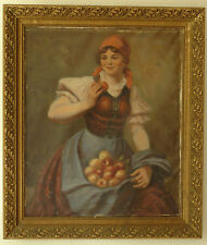 Girl with apples – Oil Painting on canvas by Zsolnay-Antique Hungarian painting.