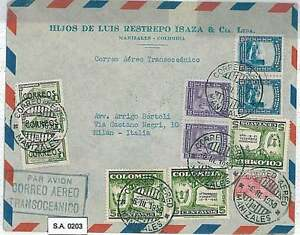 TREES : FORRESTRY CONGRESS - POSTAL HISTORY : COLOMBIA - AIRMAIL COVER to ITALY
