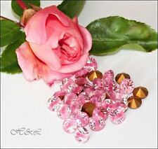 12 Swarovski Clear Rose Pink Givre Frost Pointed 1100 GF Chatons ss24 Vintge 5mm