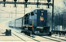 Central of New Jersey GP40P #3672 kicks up snow, NJ --- Railroad Train Postcard