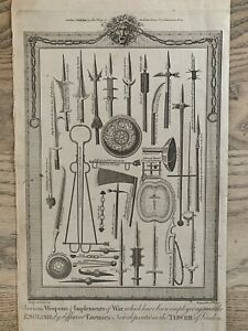 1785 English Weapons of War from The Tower of London Copperplate Engraving