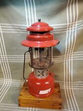 1969 (July) Vintage Red Coleman 220E Double Mantle Lantern. Brass Fount.