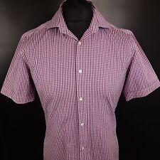 HUGO BOSS Mens Shirt 39 15.5 SMALL Short Sleeve Purple Slim Fit Check 2 Ply