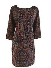 New GRETCHEN SCOTT Jersey Corset Ruched Waist Dress Pleasantly Paisley Black M