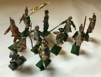 10 Vintage AWI American War Of Independence Metal Painted Soldiers